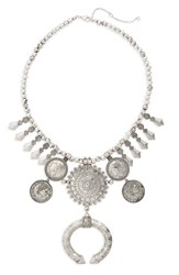Leith Etched Coin Statement Necklace Silver