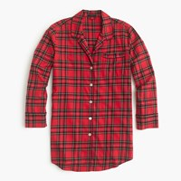 J.Crew Classic Tartan Flannel Nightshirt Red Black Multi