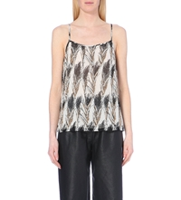 Warehouse Feather Print Embellished Cami Cream