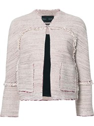 Proenza Schouler Collarless Tweed Jacket Red