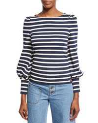 Marc Jacobs Striped Boat Neck Puff Sleeve Tee Navy