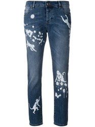 Red Valentino Paint Splatter Effect Monkey Jeans Blue