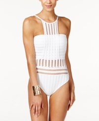 Kenneth Cole Tough Luxe Crochet High Neck One Piece Swimsuit Women's Swimsuit White