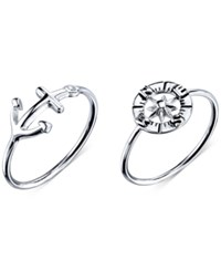 Unwritten Anchor And Compass Ring Set In Sterling Silver