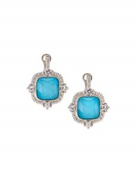 Judith Ripka La Petite Imitation Turquoise Doublet Drop Earrings Blue