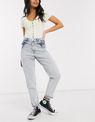 Miss Selfridge Mom Jeans With Frill Pocket In Light Wash Blue
