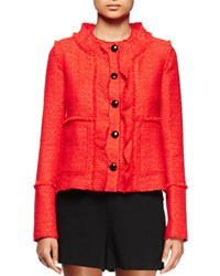 Proenza Schouler Long Sleeve Ruffle Front Jacket Electric Red