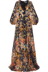 Chloe Exclusive Floral Print Metallic Fil Coupe Silk Gauze Maxi Dress Navy