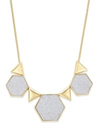 Abs By Allen Schwartz Gold Tone Glitter Geometric Collar Necklace