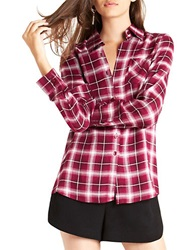 Bcbgeneration Plaid Button Front Shirt Crushed Berry
