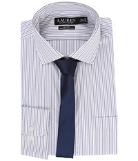 Lauren Ralph Lauren Stretch Poplin Spread Collar Slim Button Down Shirt White Purple Multi Men's Long Sleeve Button Up Blue