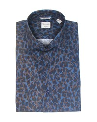 Culturata Extra Soft Print Dress Shirt Blue