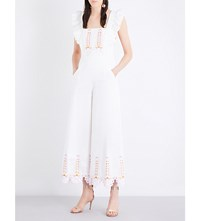Temperley London Amour Embroidered Cotton Poplin Jumpsuit White