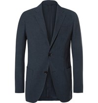 Ermenegildo Zegna Blue Slim Fit Puppytooth Woven Suit Jacket Navy