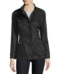 Jane Post High Neck Snap Front Jacket Camo
