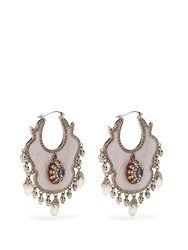 Alexander Mcqueen Crystal And Pearl Embellished Earrings Pink