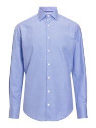 Smyth And Gibson Non Iron Twill Houndstooth Contemporary Fit Shirt Blue