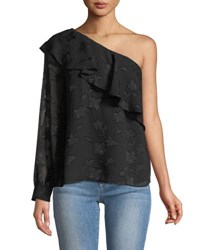 Cynthia Steffe One Sleeve Jacquard Blouse Black