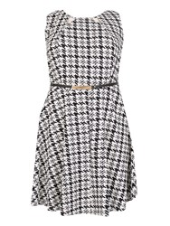 Samya Plus Size Dogtooth Fit And Flare Dress Multi Coloured Multi Coloured