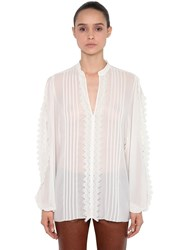 Giamba Georgette And Lace Blouse White