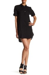 Allen Allen Linen Roll Sleeve Shirt Dress Black