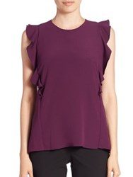 Carven Ruffled Sleeveless Top Blanc Optique Violet
