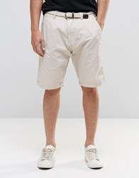 Esprit Chino Shorts With Woven Belt Stone Beige