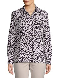 Ellen Tracy Leopard Print Button Down Shirt Bali Leopard