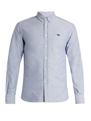 Maison Kitsune Button Down Cotton Shirt Light Blue