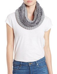 Calvin Klein Ribbed Knit Faux Fur Trimmed Loop Scarf Grey