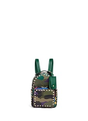 Valentino 'Rockstud' Mini Camouflage Leather Patch Canvas Backpack Multi Colour