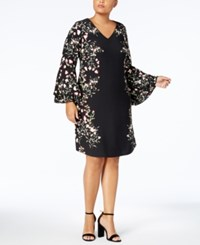 Alfani Plus Size Printed Peasant Dress Created For Macy's Black Garden Bloom