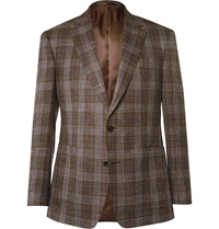 Gieves And Hawkes Brown Slim Fit Check Wool Silk And Linen Blend Blazer