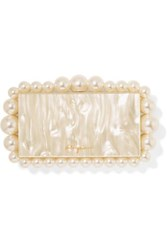 Cult Gaia Eos Faux Pearl Embellished Marbled Acrylic Clutch White