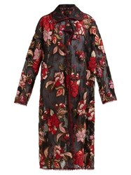 Biyan Rolette Reversible Floral Embroidered Tulle Coat Black Red