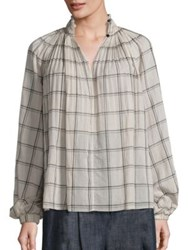 Tibi Beebe Edwardian Plaid Cotton Tunic Sand Black