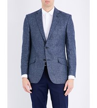 Richard James Houndstooth Pattern Linen And Wool Blend Jacket Denim