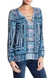 Lucky Brand Hi Lo Lace Up Blouse Blue