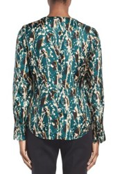 Hugo Boss Banora Print Stretch Silk Blouse Blue