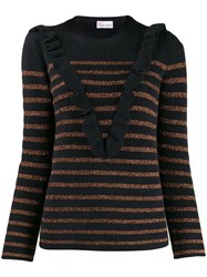 Red Valentino Stripped Knit Sweater Blue