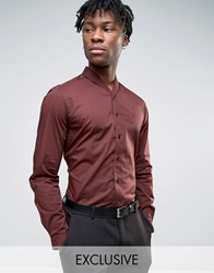 Hart Hollywood Slim Shawl Collar Shirt Burgundy Red