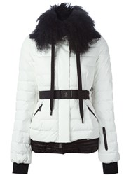 Moncler Grenoble Lamb Fur Collar Padded Jacket White