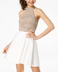 City Triangles Juniors' Contrast Glitter Lace Fit And Flare Dress Clay White