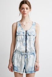 Forever 21 Life In Progress Bleached Chambray Romper Denim Washed
