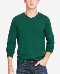 Polo Ralph Lauren Men's V Neck Long Sleeve Shirt Welsh Green