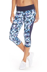 Pink Lotus 'Botanic Patchwork' Colorblock Capri Leggings Purple Multi