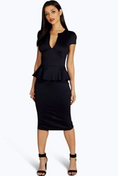 Boohoo Slit Neck Cap Sleeve Peplum Midi Dress Navy