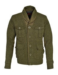 Schott Shawl Collar Sweater Jacket Moss Green