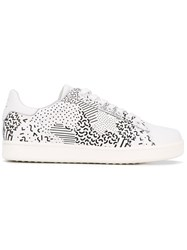 Moa Master Of Arts Multi Print Lace Up Sneakers Women Leather Polyamide Rubber 40 White