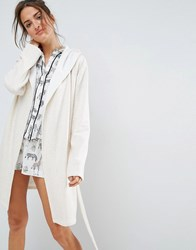 Asos Jersey Robe With Fleece Lining Oatmeal Cream